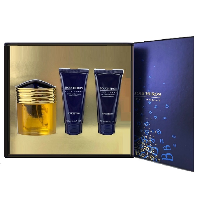 Boucheron Gift Set for Men - 3.3oz Eau De Parfum spray, 3.3oz After Shave Balm, & 3.3oz Shower Gel