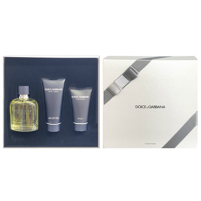 Dolce & Gabbana 3 Pieces Gift Set for Men - 4.2oz Eau De Toilette Spray, 1.7oz After Shave Balm, & 1.6oz Shower Gel
