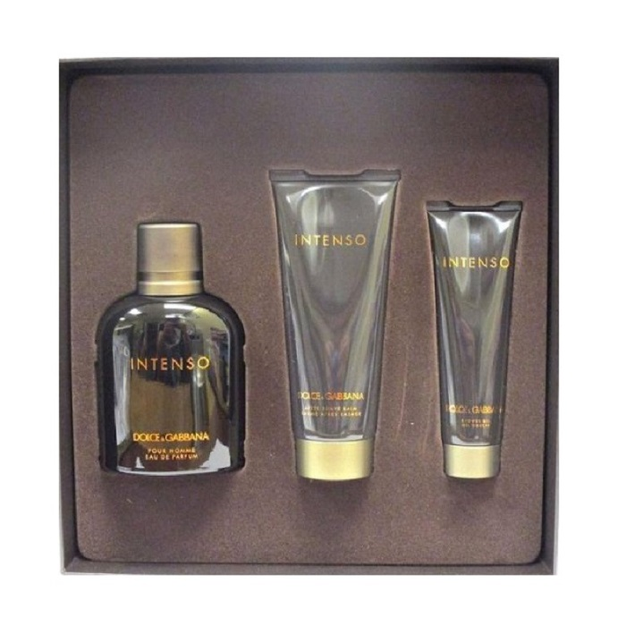 Dolce & Gabbana Intenso 3 Pieces Gift set - 4.2oz Eau De Parfum spray, 3.3oz After Shave Balm, & 1.6oz Shower Gel