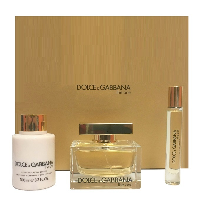 Dolce & Gabbana The One Perfume Gift Set - 2.5oz Eau De Parfum Spray, 3.3oz Body Lotion, & 0.25oz Eau De Parfum Roll on