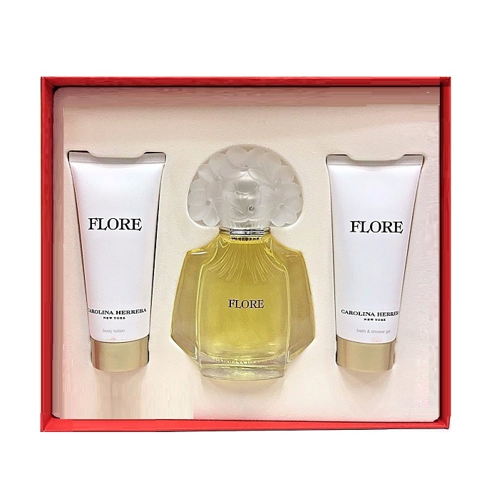 Flore Perfume Gift Set for women - 3.4oz Eau De Parfum spray, 3.4oz Body Lotion, & 3.4oz Shower Gel