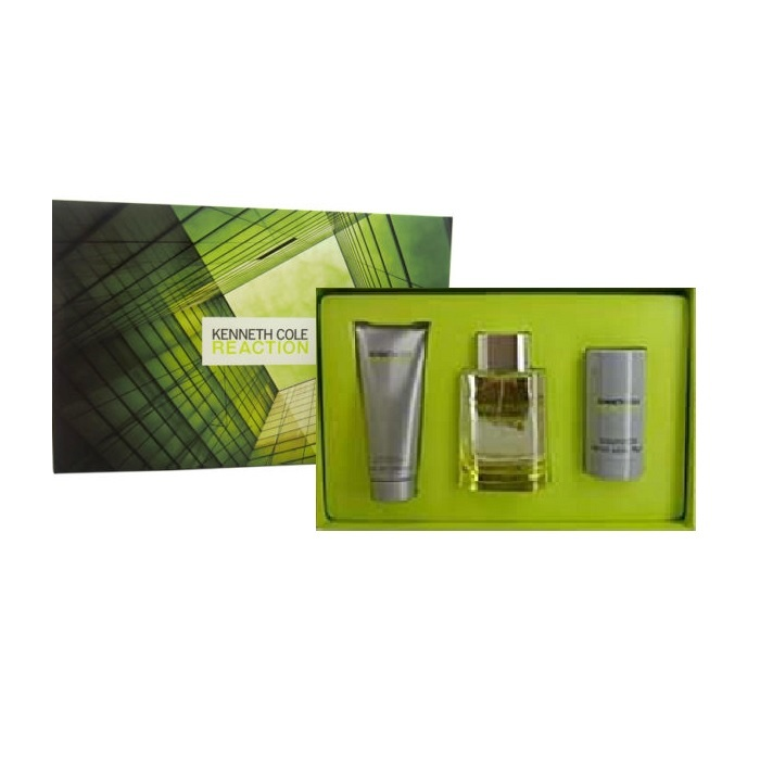 Kenneth Cole Reaction Gift Set for Men - 3.4oz Eau De Toilette spray, 3.4oz After Shave Balm, & 2.6oz Deodorant Stick
