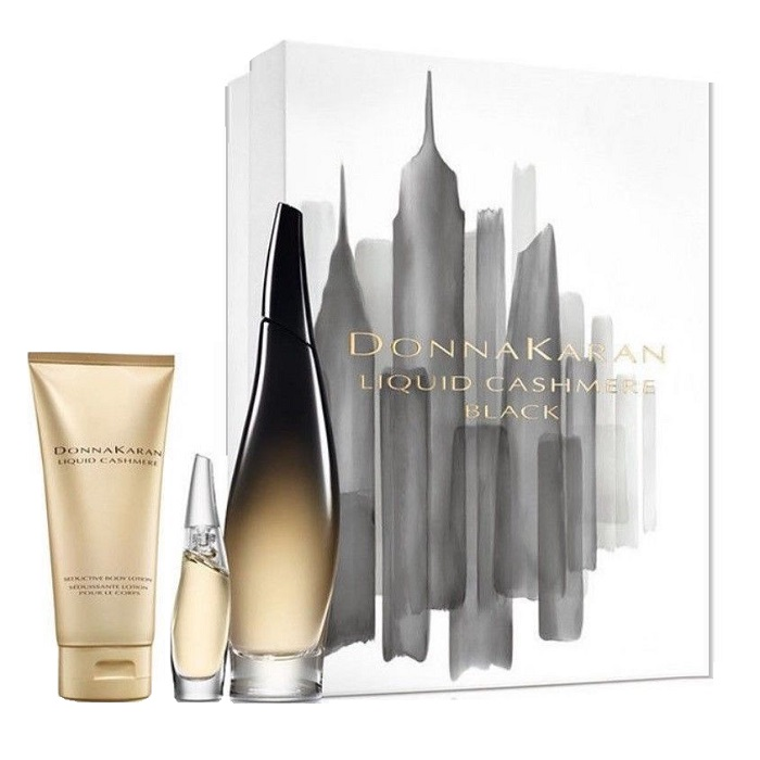Liquid Cashmere Black Perfume Gift Set - 3.4oz Eau De Parfum spray, 3.4oz Body Lotion, & 0.24 oz EDP Mini