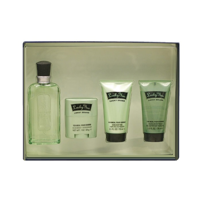 Lucky You Gift Set for Men - 1.7oz Cologne Spray, 2.5oz Hair & Body Wash, 2.5oz Skin Soother, and 2.5oz Hair Gel
