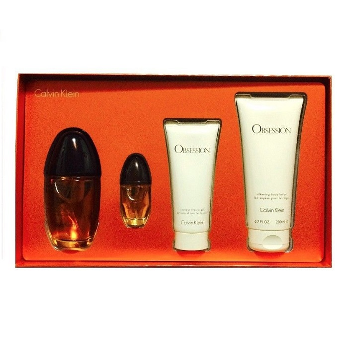 Obsession Perfume 4 pieces Gift Set - 3.4oz EDP, 6.7oz Body Lotion, 3.4oz Shower Gel, & 0.5oz spray Mini