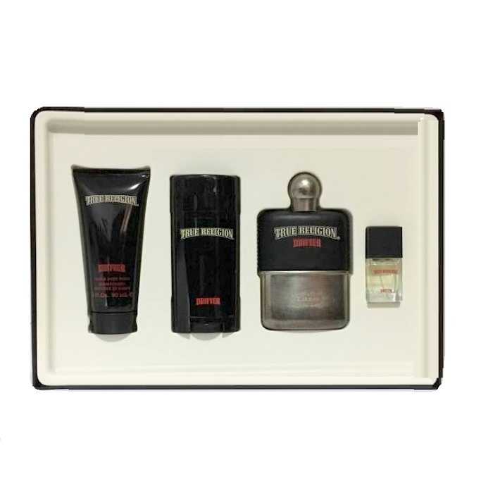 True Religion Drifter Gift Set for men - 3.4oz Eau De Toilette spray, 3.0oz Body Wash, Deodorant Stick, & Miniature