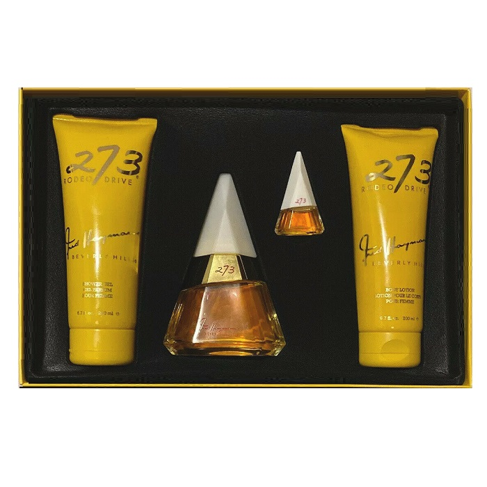 273 Rodeo Drive Perfume Gift Set - 2.5oz Eau De Parfum, 6.7oz Lotion, 6.7oz Gel, 1/8oz Eau De Parfum Mini