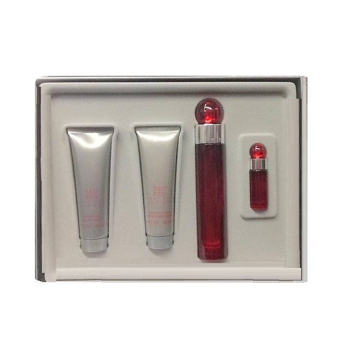 Perry Ellis 360 Red Gift Set for men - 3.4oz EDT spray, 3.0oz After Shave Balm, 3.0oz Shower Gel, & 0.25oz EDT Spray