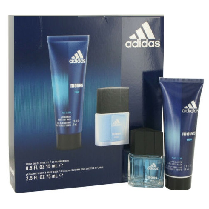 Adidas Moves Perfume Gift Set for men - 0.5oz Eau De Toilette Spray + 2.5oz Hair & Body Wash