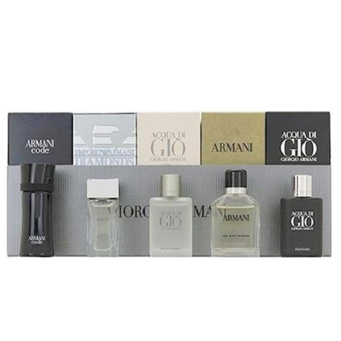 Armani Mini Perfume Sets for men - Armani Code, Emporio Armani Diamonds, Acqua Di Gio, Armani, & Acqua Di Gio Profumo