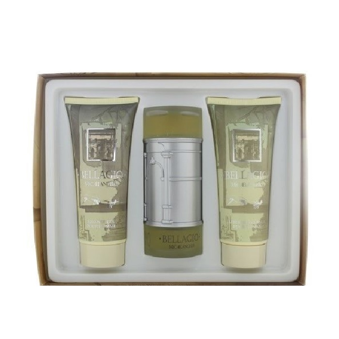 Bellagio Gift Set for men - 3.4oz Eau De Toilette spray, 6.8oz After Shave, & 6.8oz Shower Gel