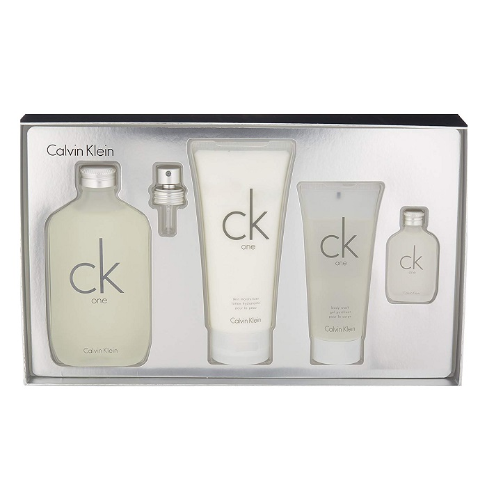 CK One Perfume 4 pieces Gift Set - 6.7oz EDT spray, 6.7oz Body Lotion, 0.5oz Mini, and 3.4oz Body Wash