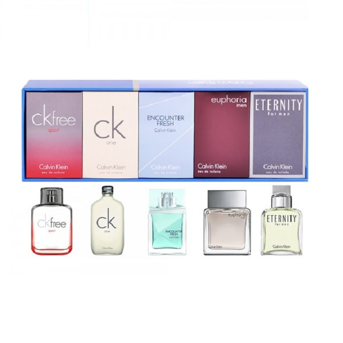 Calvin Klein 5 Mini Collection for men - 10ml CK Free Sport, 10ml CK One, 10ml Encounter Fresh, 10ml Euphoria, & 10ml Eternity