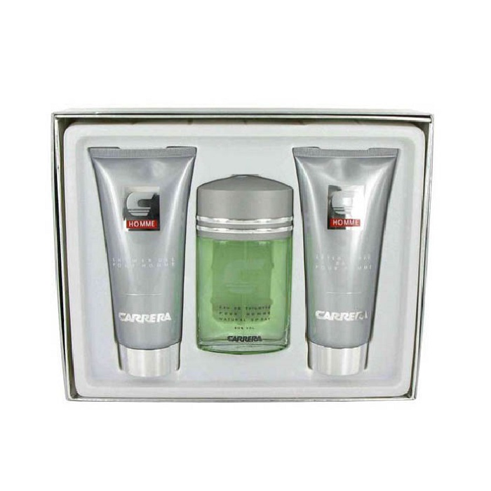 Carrera Pour Homme Gift Set - 3.4oz Eau De Toilette Spray, 6.8oz After Shave Balm and 6.8oz Shower Gel