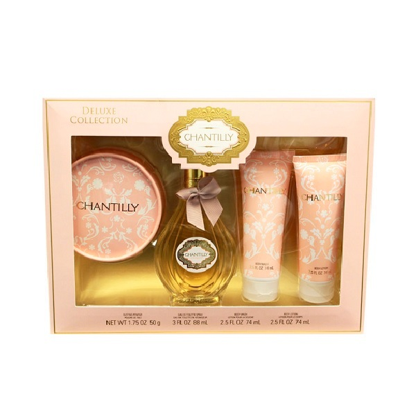 Chantilly Perfume Gift Set - 3.0oz Eau De Toilette spray, 1.75oz dusting Pouder, 2.5oz Body wash, & 2.5oz Body Lotion