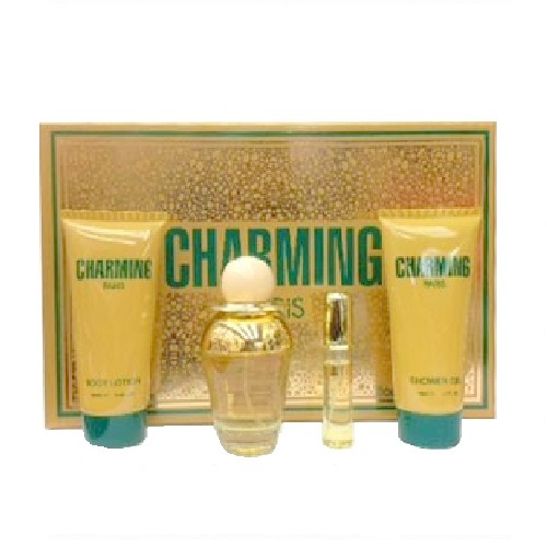 Charming Perfume Gift Set for Women - 3.4oz Eau De Toilette, 15ml Eau De Toilette, 5.0oz Shower Gel, & 5.0oz Body Lotion