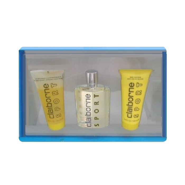Claiborne Sport Gift Set for men - 3.4oz Cologne spray, 3.4oz Hair & Body Clenser, & 3.4oz Skin Soother