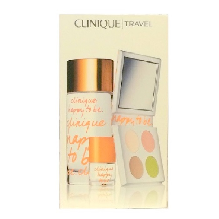 Clinique Happy To Be Perfume Gift Set for Women - 3.4oz Eau De Parfum, 0.14oz Mini & Colour Surge Eye Shadow Quad