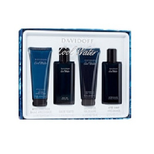 Cool Water for Men 4 Pieces Gift Set - 2.5oz EDT, 2.5oz Shower Gel, 2.5oz After Shave Balm, and 2.5oz After Shave Lotion