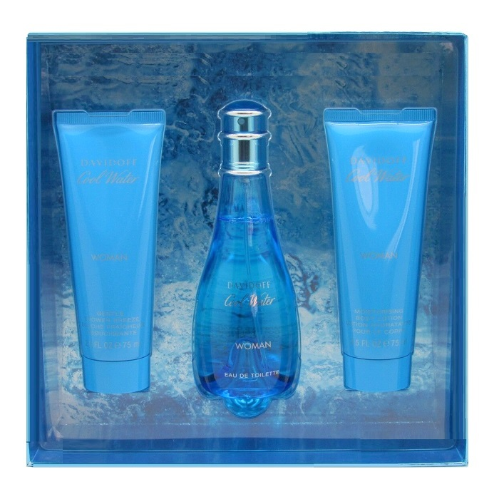 Cool Water Perfume Gift Set - 1.7oz Eau De Toilette spray, 1.7oz Shower Gel, 1.7oz Shower Breeze