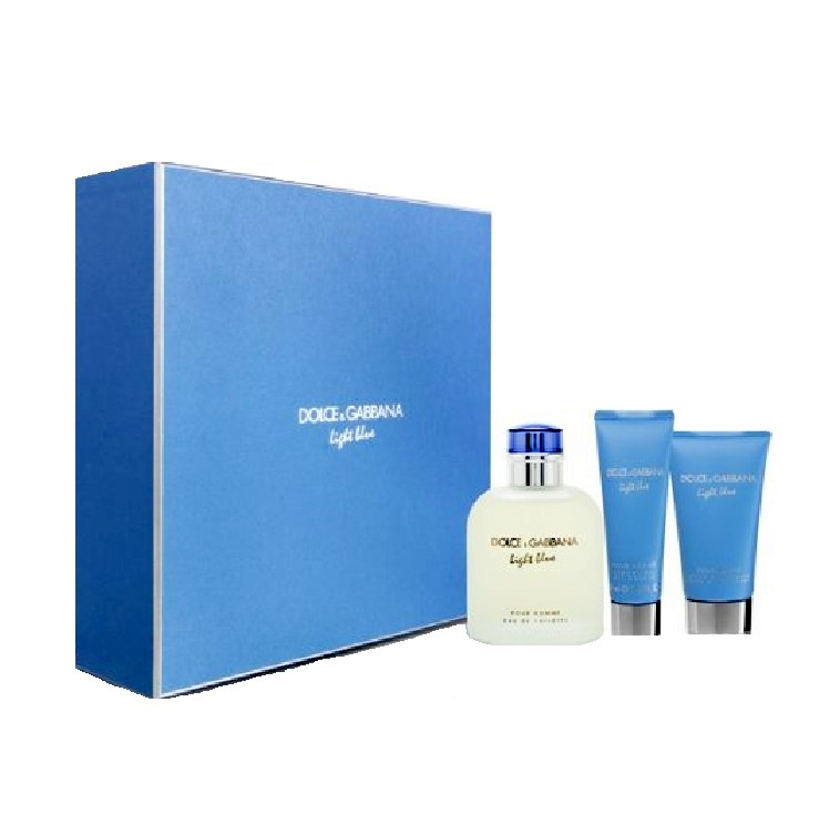 Dolce & Gabbana Light Blue 3 Pieces Set for Men - 4.2oz Eau de Toilette, 1.6oz After Shave Balm, & 1.7oz Shower Gel