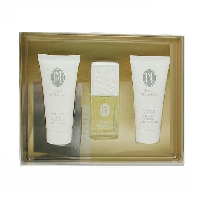 Jessica McClintock 3 Piece Gift Set - 1.7oz Eau De Parfum spray, 3.0oz Body Lotion & 3.0oz Body Wash