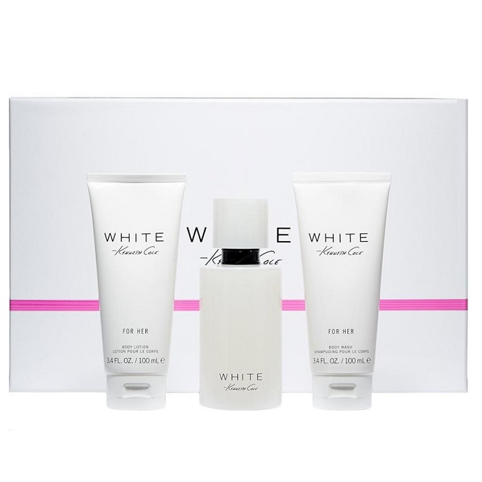 Kenneth Cole White Perfume Gift Set for women - 3.4oz Eau De Parfum spray, 3.4oz Body Lotion, & 3.4oz Shower Gel