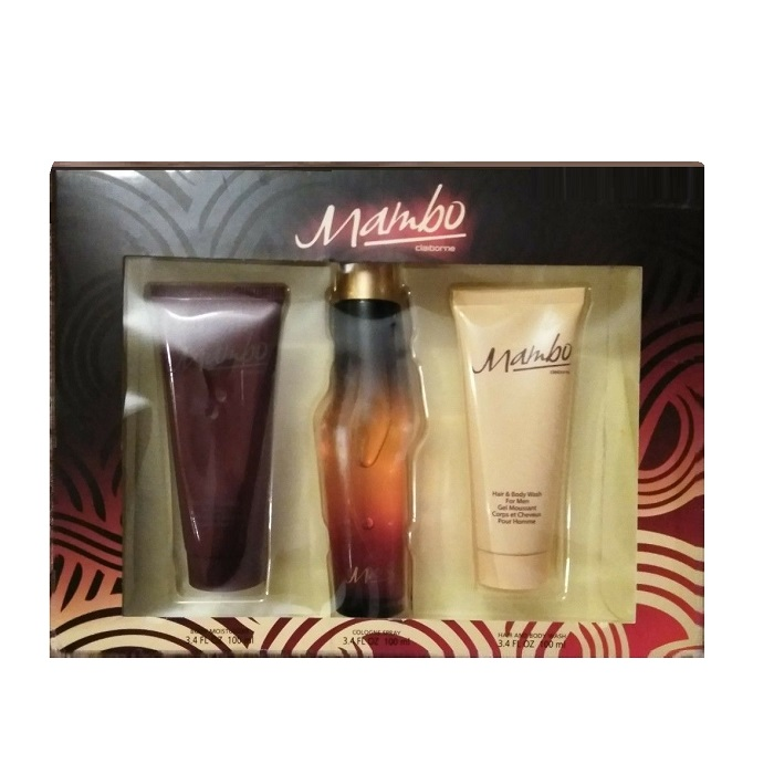 Mambo Gift Set for Men - 3.4oz eau de toilette Spray, 3.4oz body moisturizer and 3.4oz hair & body wash