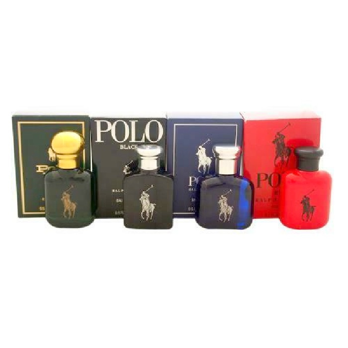 Polo Ralph Lauren 4 Mini Set for men - Polo 0.5oz EDT, Polo Black 0.5oz EDT, Polo Blue 0.5oz EDT, & Polo Red 0.5oz EDT