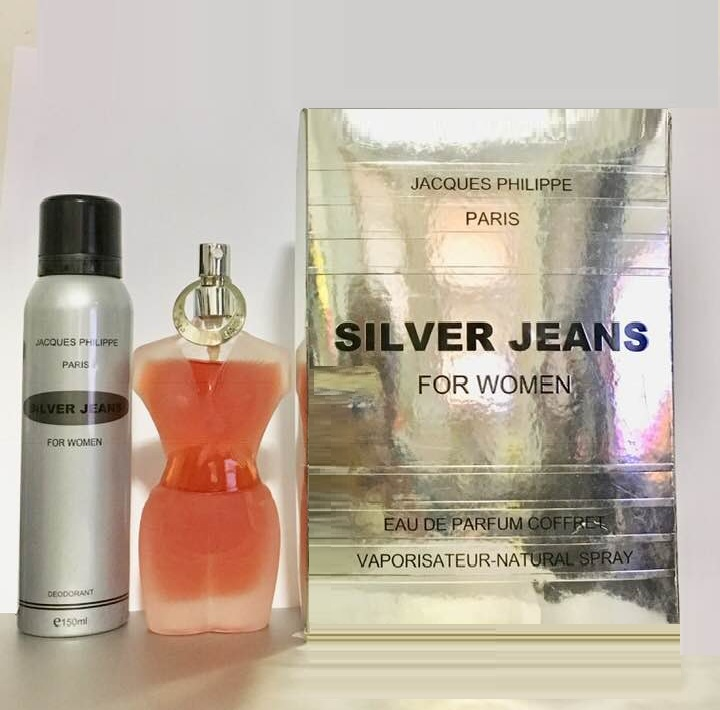 Silver Jeans Perfume Gift Set for women - 3.6oz Eau De Perfume spray, and 6.7oz Deodorant spray