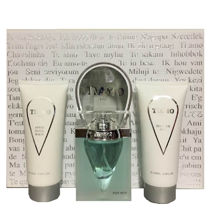 Tiamo Gift Set for men - 3.4oz Eau De Toilette Spray, 5.0oz After Shave Balm, & 5.0oz Shower Gel