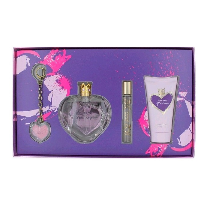 Vera Wang Princess Perfume Gift Set for Women - 3.4oz EDT spray, 2.5oz Body Lotion, 0.13oz EDT Rollerball, & 0.7oz Keychain