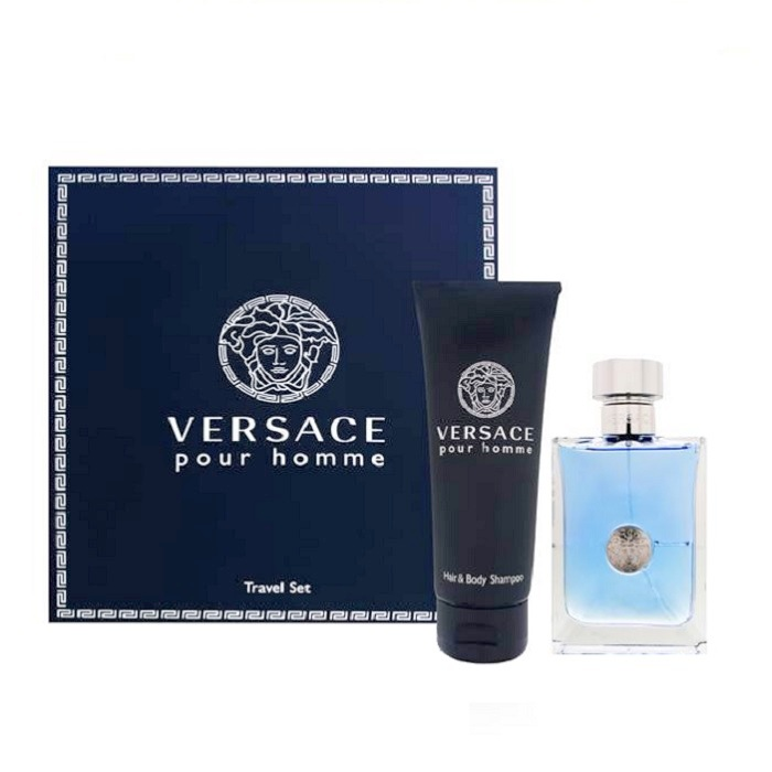 Versace Pour Homme Gift Set - 3.4oz Eau De Toilette Spray and 3.4oz Hand & Body Shampoo