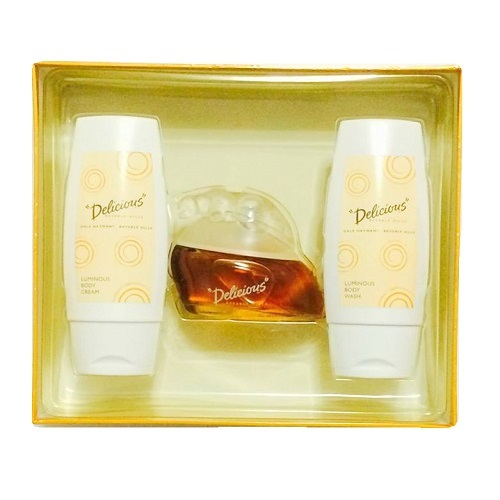 Delicious Perfume Gift Set for Women - 3.3oz eau de toilette spray, 3.3oz velvet body cream and 3.3oz silky body wash