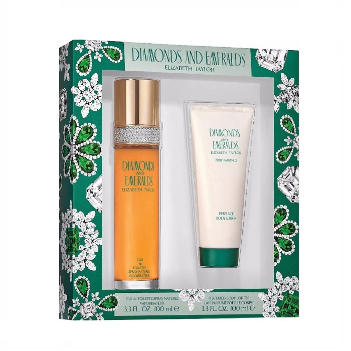Diamonds and Emeralds Gift Set for women - 3.4oz Eau De Toilette spray, & 3.4oz Body Lotion