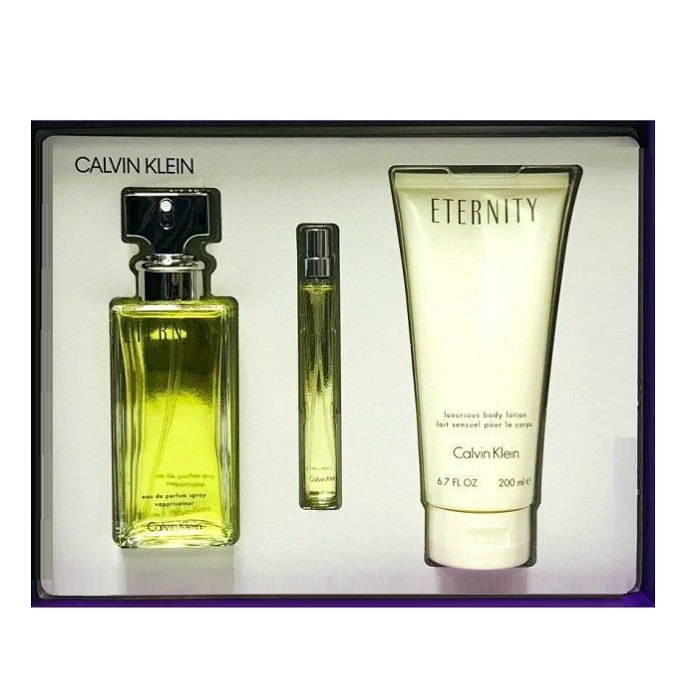 Eternity Perfume Gift Set - 3.4oz Eau De Parfum spray, 6.7oz Body Lotion & 0.5oz Eau De Parfum spray