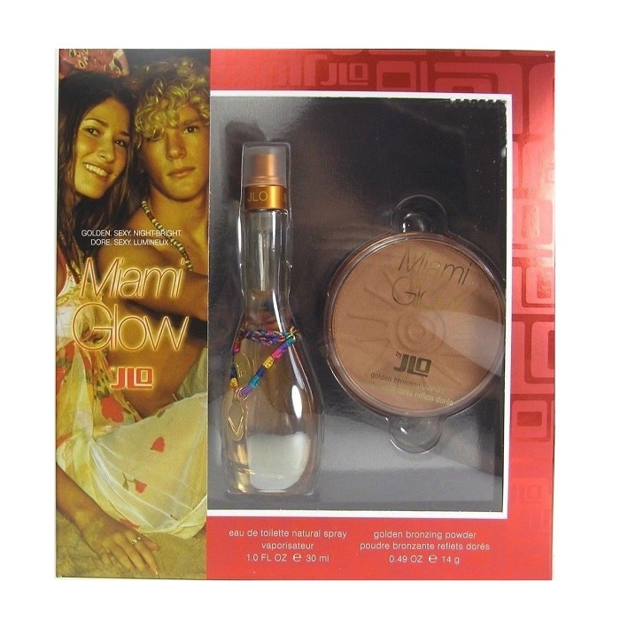Miami Glow Perfume Gift Set for women - 1.0oz Eau De Toilette Spray & 0.49oz Golden Bronzing Powder