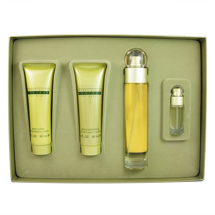 Reserve Perfume Gift Set for women - 3.4oz Eau De Toilette Spray, 3.0oz Body Lotion, 3.0oz Shower Gel, and 0.25oz Mini Spray