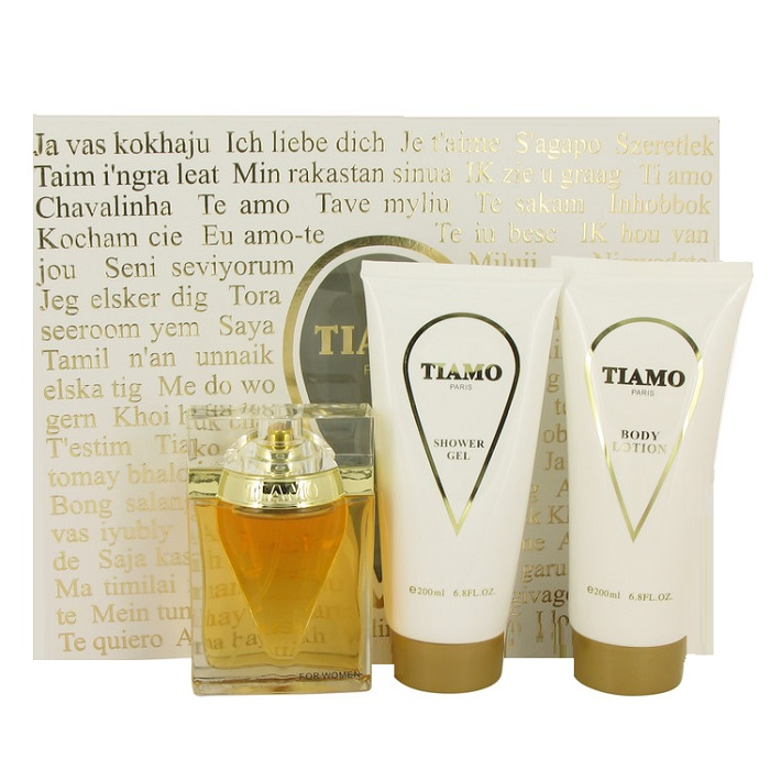 Tiamo Perfume Gift Set for women - 3.4oz Eau De Parfum spray, 6.8oz Body Lotion, & 6.8oz Shower Gel