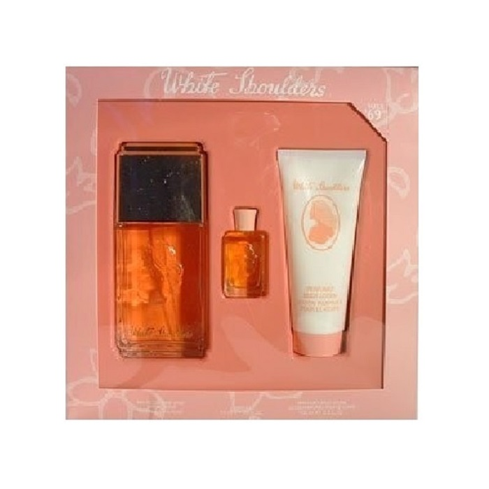White Shoulders Perfume Gift Set for women - 4.5oz Eau De Cologne Spray, 3.3oz Body Lotion & 0.17oz Mini