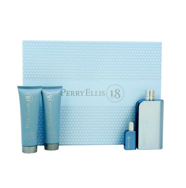 Perry Ellis 18 Gift Set for Men - 3.4oz Eau De Toilette Spray, 3.0oz After Shave Balm, 3.0oz Hair Body Wash, & 0.25oz Mini spray