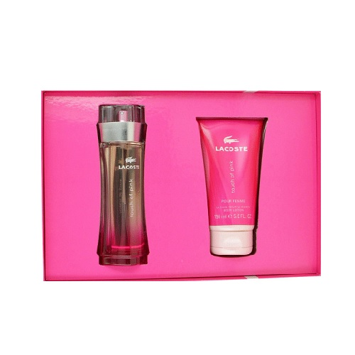 Lacoste Touch Of Pink Perfume Set - 3.0oz Eau De Toilette spray & 5.0oz Body Lotion