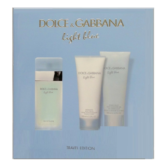 Light Blue Perfume Gift Sets for women - 3.3oz Eau De Toilette Spray, 3.3oz Body Cream, & 3.3oz Shower Gel