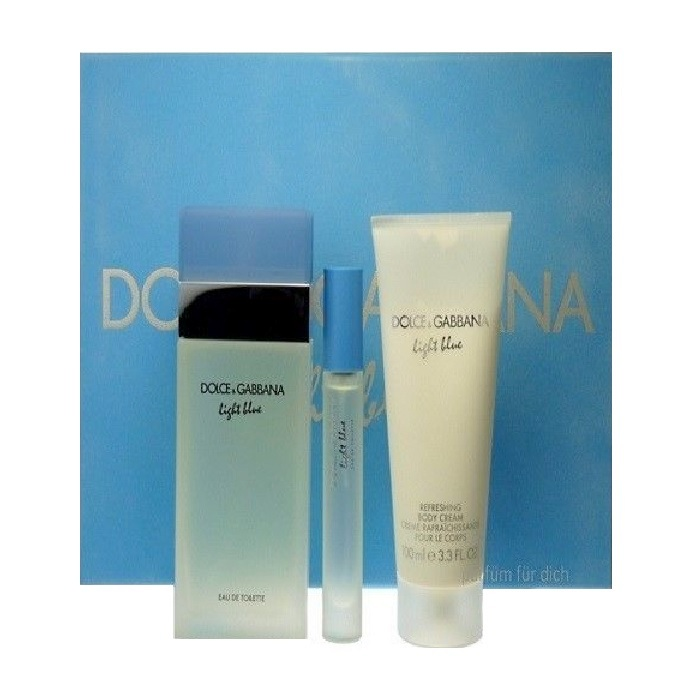 Light Blue Perfume Gift Sets for Women - 3.3oz Eau De Toilette spray, 3.3oz Body Cream, & 0.25oz Eau De Toilette